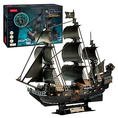 Puzzle 3D Boat Pirate Mejora versión 2021, Barco Negro Pearl Caribbean Pirate 68cm,1:95 Barco de Perla Negra Realista con Kit LED Modelo, Adulto (Entrega en 2 5 días)