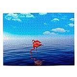 Flamenco de Aruba Rompecabezas para Adultos, 500 Piezas de Madera, Regalo de Viaje, Recuerdo, 20.4 x 15 Pulgadas