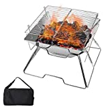 Freehawk Portable Camping Grill Foldable Outdoor Camping Fire Pit, 304 Stainless Steel Campfire Grill Gate with Carrying Bag for Garden Camping Outdoor Backyard