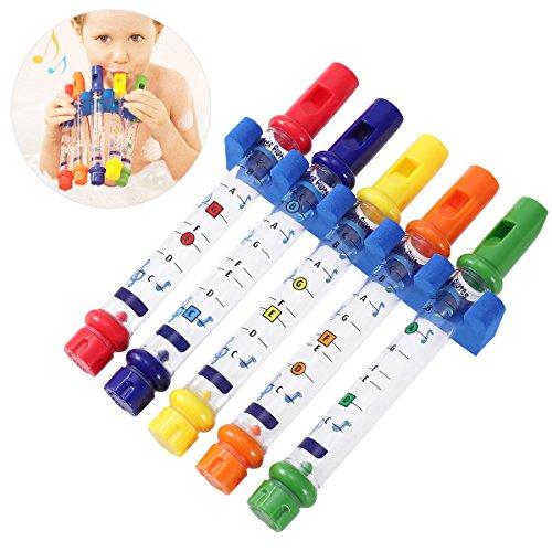 Yeahibaby Flautas de agua de baño 5pcs que bañan los juguetes para el bebé