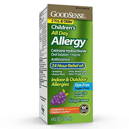 GoodSense Children's All Day Allergy, Cetirizine Hydrochloride Oral Solution 1 mg/mL, Grape Flavor, 4 Ounces