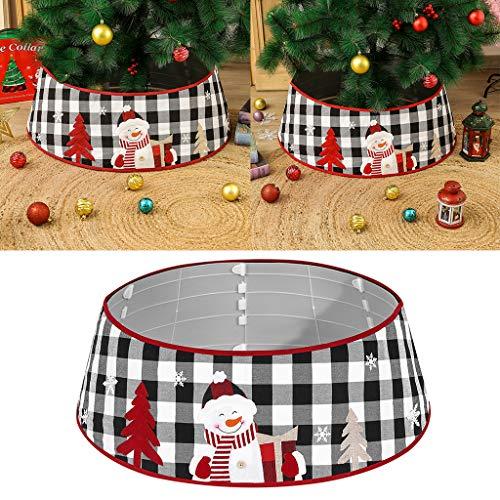wenjuersty Christmas Tree Skirt Snowman Black White Plaid Base Collar Around Xmas Decor