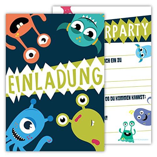 Einladungskarten für Kindergeburtstage für Jungen oder Mädchen (Monster, 12 Stück im Kartenset)