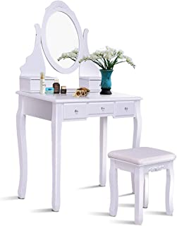 Giantex White Vanity Table Set with Mirror & Cushioned Stool Large Storage Removable Top Stand 360° Swivel Mirrored Bedroom Makeup Dressing Vanities Tables with 5 Drawers