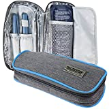 CoreLife Insulin Cooler Travel Case, Diabetic Medication Holder Bag and Organizer Kit with 2 Non-Sweat Ice Packs and Insulated Liner (Gray - Blue Trim)