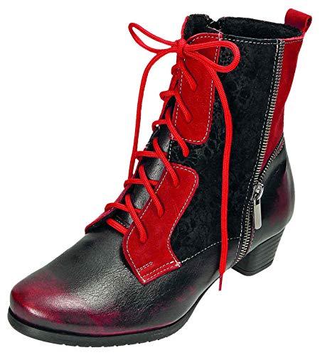 MICCOS Shoes Stiefel D.Schnürstfl in rot/schwarz, Größe 39.0,