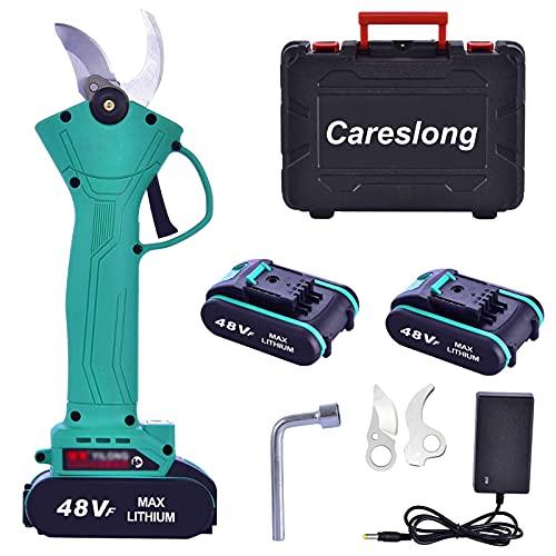 Tijeras de podar eléctricas, Careslong tijeras de podar inalámbricas profesionales,2 baterías de litio recargables,diámetro de corte de 30 mm, duración de la batería de 3 a 5 horas (tijeras de jardín)