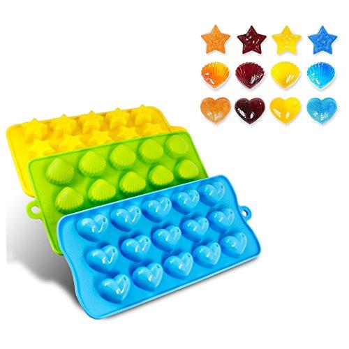 Ijsblokjes, 3 stuks, siliconen vormen, snoepjes, chocolades, fondant vormen, hartjes, sterren en schaaltjes.