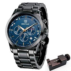 BENYAR Men's Watches Waterproof Sport Military Watch for Men Multifunction Chronograph Black Fashion Quartz Wristwatches…