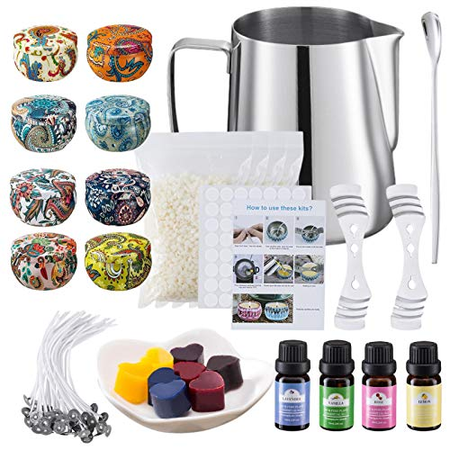 Royoo, set di candele profumate con cera di soia, kit per la produzione di candele fai da te per principianti,...