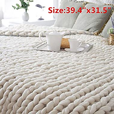 Transer Hand Chunky Arm Knit Blanket Thick Yarn Bulky Knitted Throw 39.4x31.5inch (Beige)