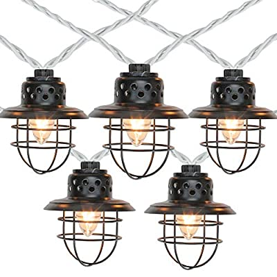 10-Count Black Caged Fisherman Lantern Patio String Light Set, 9ft. Black Wire
