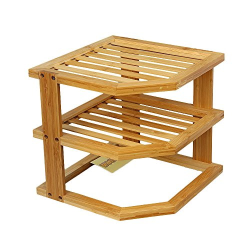 Woodluv, mensola portaoggetti ad angolo, 100% bambù. Rastrelliera salvaspazio, 3ripiani, per mantenere ordinato