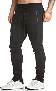 Men's Workout Running Pants Casual Sporting Pant with Zipper Pockets