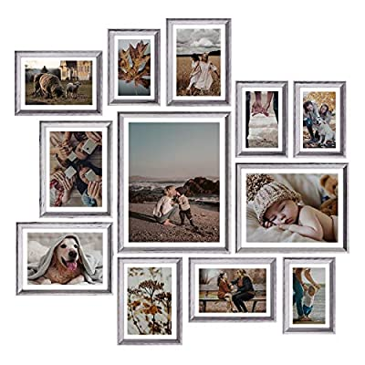 Homemaxs Picture Frames Set of 12, Rustic Picture Frames Collage Picture Frames Set for Tabletop or Wall Decor, Four 4x6 in, Four 5x7 in, Two 6x8 in, One 810in,One 1114in