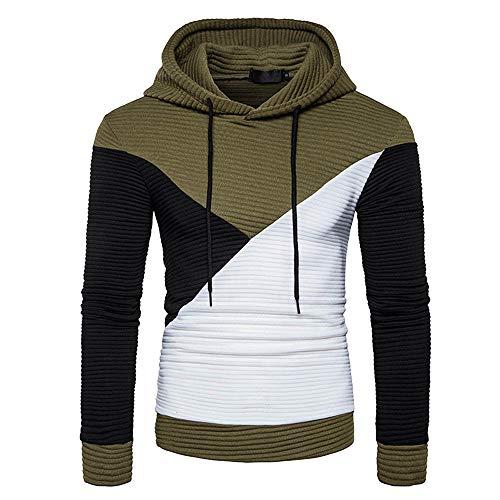 MIRRAY Herren Langarm Patchwork Kapuzenpullover Kapuzen Sweatshirt Top T-Shirt Outwear