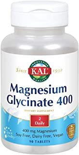 KAL Magnesium Glycinate 400 | Vegan, Chelated, Non-GMO, No Soy, No Dairy, and No Gluten, 90 Count (Pack of 1)