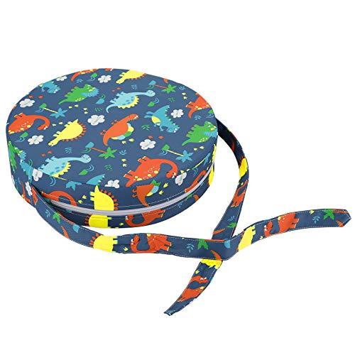 BSTKEY Baby Booster Sitz Kleinkind Pads Verstellbare Stuhlkissen Erhöhung Waschbar Kinder Pads mit Riemen Dinosaurier Muster Rund Kissen (Blau)