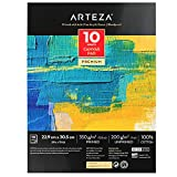 Arteza Canvas Pad, 9 x 12 Inches, 10 Sheets, 100% Cotton, 12.3-oz Gesso Primed, Glue-Bound Canvas Paper for Oil and Acrylic Painting, Art Supplies for Mixed Media Techniques