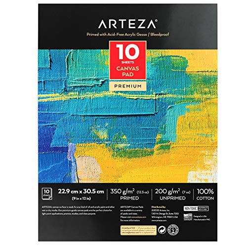 "Arteza 9x12"" Canvas Pad, 10 Sheets, 100% Cotton, Primed with Acid-Free Gesso, Glue-Bound Pad of Canvas Paper for Acrylic Painting or Oil Paint, Ideal for Painting and Mixed Media"
