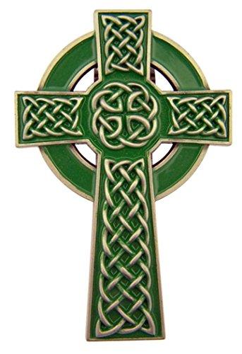 Sacred Traditions Zinc Alloy Green Enamel Celtic Cross Visor Clip, 3 Inch