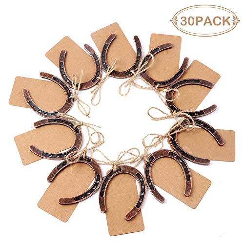 PartyTalk 30pcs Good Lucky Horseshoe Wedding Favors for Guests, Vintage Craft Horseshoe Favors with Kraft Gift Tags for Rustic Wedding Birthday Party Decorations