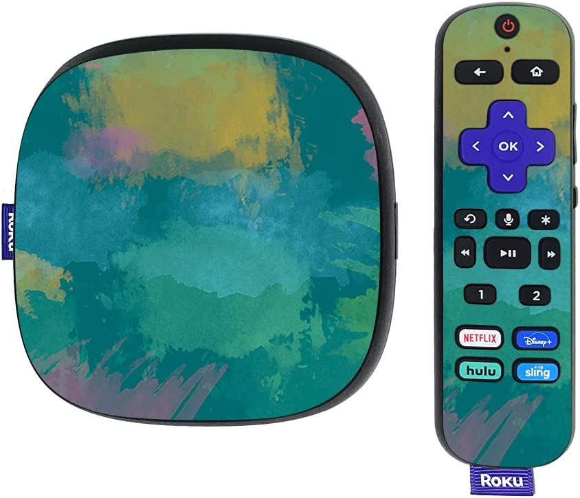 MightySkins Skin Compatible with Roku Ultra HDR 4K Streaming Media Player (2020) - Watercolor Blue | Protective, Durable, and Unique Vinyl Decal wrap Cover | Easy to Apply | Made in The USA