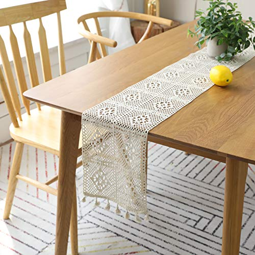 Anjinguang Macrame Table Runner 24x160cm Boho Woven Cotton Crochet Lace Farmhouse Moroccan Woven Table Runner with Tassels for Bohemian, Dinner Rustic Table Top Bridal Shower