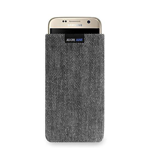 Adore June Business Tasche für Samsung Galaxy S7 Handytasche aus charakteristischem Fischgrat Stoff - Grau/Schwarz | Schutztasche Zubehör mit Bildschirm Reinigungs-Effekt | Made in Europe