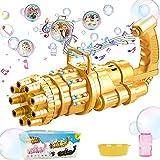 SPECOOL Maquina Burbujas Niños,Pistola de Burbujas Eléctrica Gatlings, Máquina de Burbujas Enorme de 9 Orificios con Luz y Música, Pistola de Burbujas Juguetes Regalos de cumpleaños para niños
