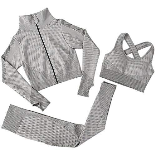 3pcs sin Fisuras Las Mujeres Traje Yoga Escudo de Manga Larga Chaleco Polainas de Fitness Gimnasio chándal de Deporte de la Ropa del (Gris, XL)