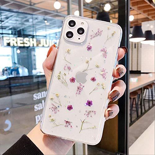 Real Dry Flower Glitter Clear Funda para iPhone 11Pro MAX XR X XS MAX 6 7 8 Plus Epoxy Star Funda Transparente para iPhone 11 12 Pro para iPhone 7 Plus T1