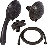 6 Function Dual Shower Head Combo - High Pressure, Adjustable Handheld & Fixed Showerheads With Hose &...