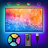 USB Tira LED para TV 2M,WOANWAY RGB Luces LED tv Habitacion,44 teclas con Control Remoto y Sincronización de Música Multicolor 5050 Tiras LED con 4 Modos y 20 Colores para de 30-60 pulgadas TV/PC