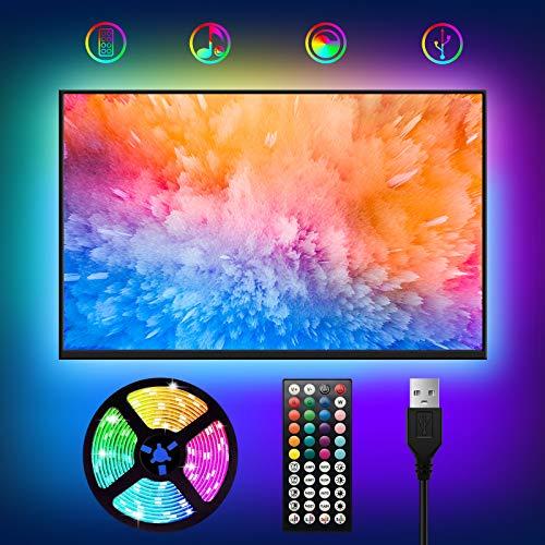 LED TV Hintergrundbeleuchtung,WOANWAY USB LED Strip 2M RGB Fernseher Beleuchtung Strips,Mit 44 Tasten Fernbedienung und Sync mit Musik LED Streifen für 40-60 Zoll HDTV/ TV-Bildschirm / PC Bildschirm