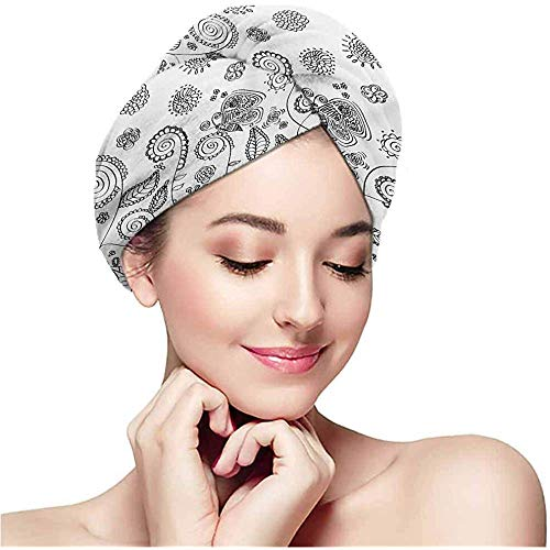Handdoek van microvezel, omwikkeld, kleurpatroon, super absorberend, sneldrogende haarband, krulwikkelaar, lange douchekap.