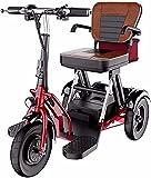 MTSS Patinete eléctrico de 3 ruedas con accionamiento de dos ruedas, patinete de viaje portátil, plegable reversible, 20 km/h, tracción de dos ruedas, adecuado para personas mayores 55 km