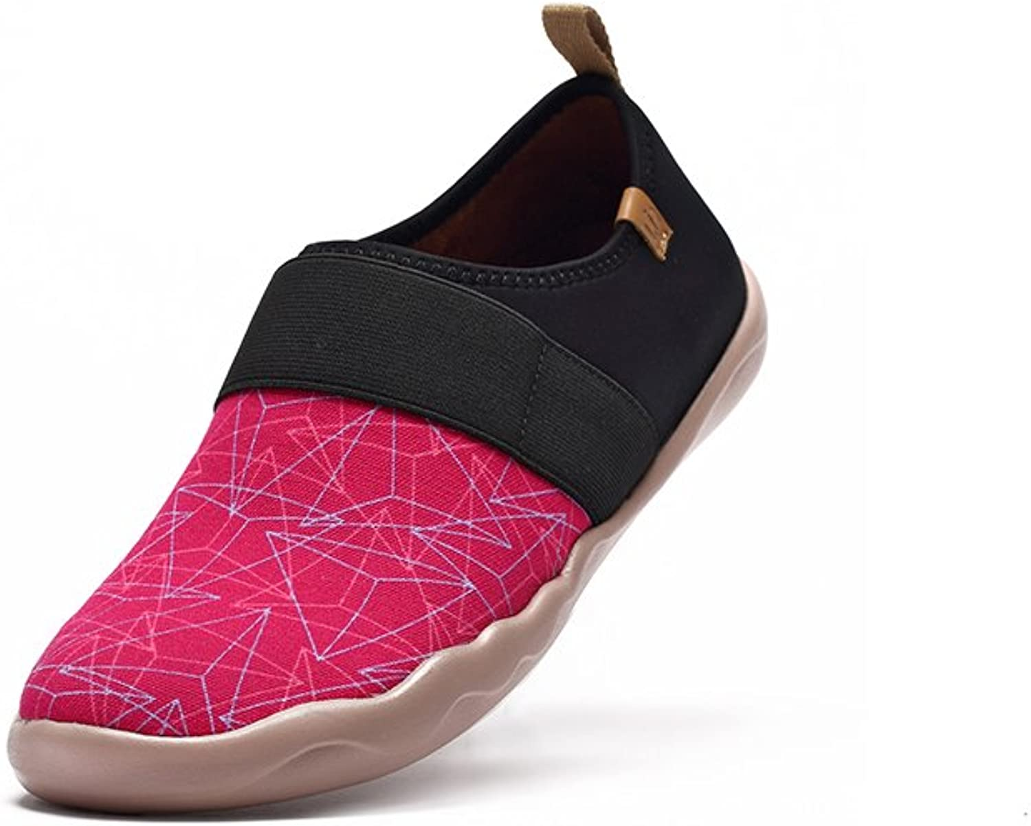 UIN Women's Pyramid Canvas Painted Slip On shoes Pink