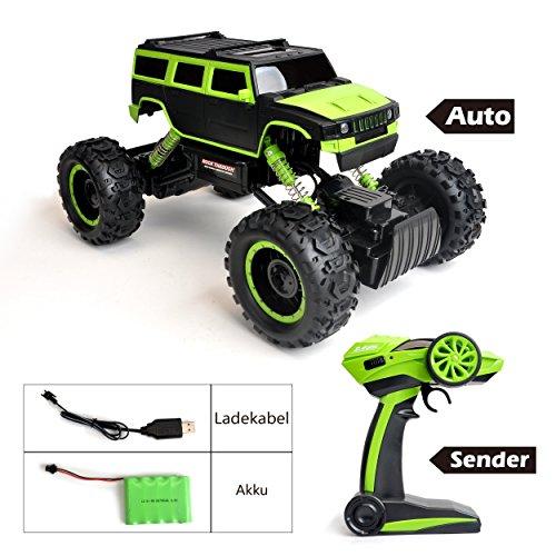 RC Auto kaufen Monstertruck Bild 2: Maximum RC Ferngesteuertes Auto für Kinder - 4WD Monstertruck - XL RC Auto für Kinder ab 8 Jahren - Rock Crawler (grün)*