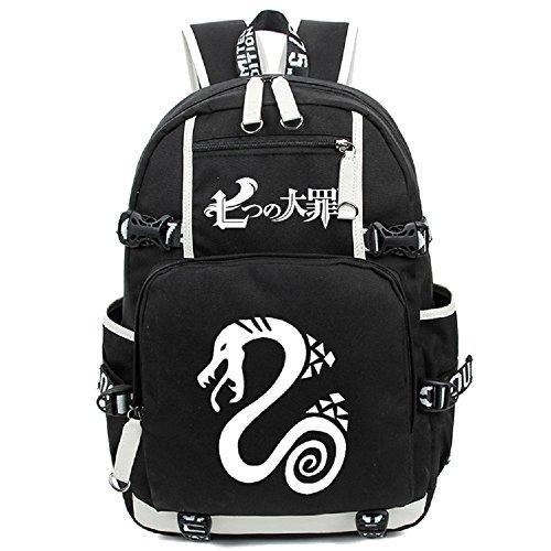 Mochila para portátil Siawasey, bolsa de hombro, mochila escolar, anime japonés, cosplay negro The Seven Deadly Sins 1
