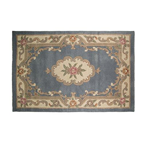 Tapis de sol à motif floral traditionnel d'Aubusson à lotus par Flair Rugs, Laine, bleu, 60cm x 120cm
