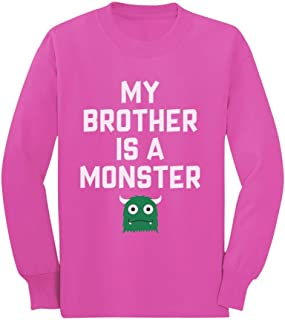 Brother is a Monster Funny Siblings Halloween Toddler/Kids Long Sleeve T-Shirt