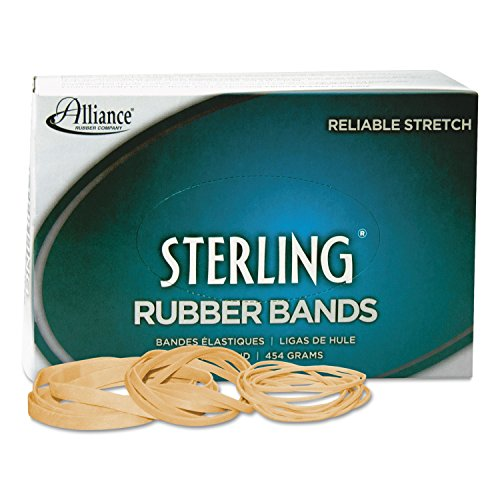 "Alliance Rubber 25405 Sterling Rubber Bands Size #117B, 1 Pound Box Contains Approx. 250 Bands (7"" x 1/8"", Natural Crepe)"