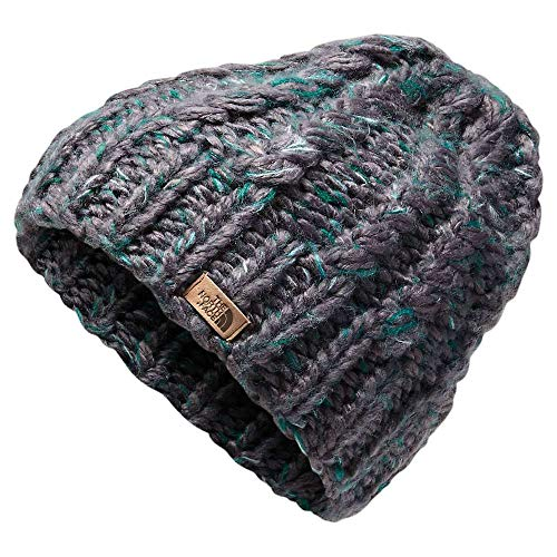 The North Face Women's Chunky Knit Beanie, Weathered Black/Everglade Multi, One Size
