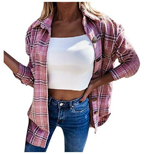 ZDJH Kofta dam varm höstjacka långärmad lös ledig retro rutig skjortjacka lätt vardaglig långärmad elegant kvinnor övergång rock ståkrage ytterkläder, ROSA, XXL
