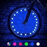 HUGEE Lumières de Roue de Vélo - Décoration de Rayons de Roue de Vélo,Éclairage Lumières de Chaîne de Roue de Vélo imperméables,Visibles de Tous Les Angles,Appliquez sur Rouler la Nuit (Bleu)
