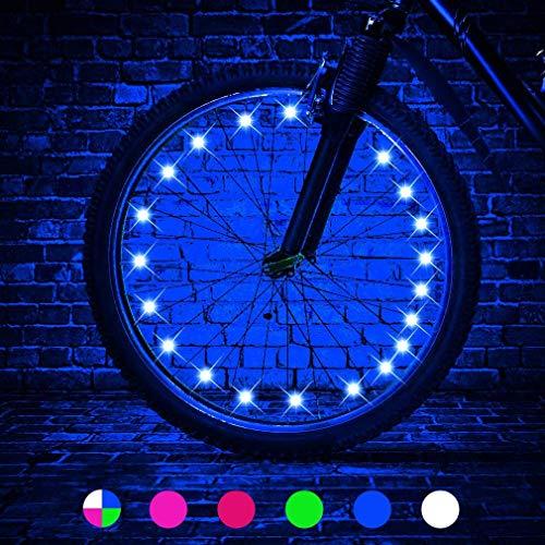 Fahrrad-Radlichter - Fahrradrad Sicherheitslicht Speichendekoration, Beleuchtung Wasserdichte Fahrradrad-Lichterkette,Aus allen Winkeln Sichtbar,Auf Fahrräder Auftragen Um nachts zu fahren (Blau)