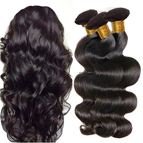 IFLY tissage cheveux humain ondulé Bresilien en Lot 7A Cheveux Naturel Brésilienne Tissage Onde Corporelle Cheveux Humain Ondulé Tissage Naturel (8 10 12pouce)