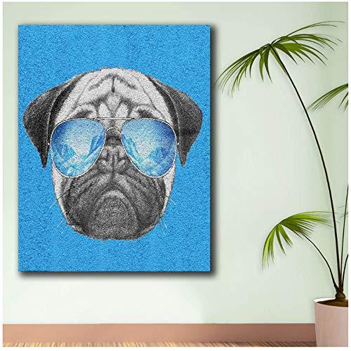 NIESHUIJING Druck auf Leinwand Wandkunst Mops-Hund-Sonnenbrille Leinwand Malerei Für Wohnzimmer Wohnkultur Malerei Wandmalerei 50 x 70 cm (19,6