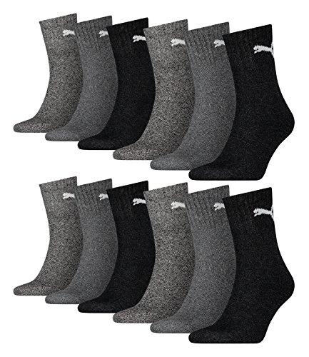 Lot de 12 chaussettes de sport Puma - Courtes - Avec semelle, Mixte, anthracite / grau 207, 43-46